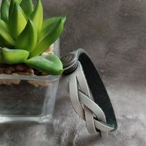 Disney Gray Engravable Leather Weave Bracelet